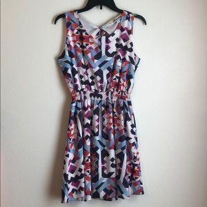 Francesca's Geometric Print Open Back Dress - M